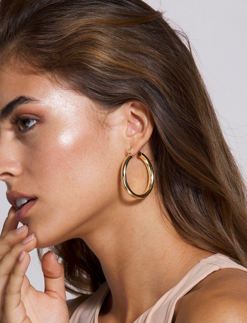 Gold Large Hoop Earrings, Big Hoop Earrings, Large Gold Earrings, Light Weight Hoops, Hoop Earrings Silver, Thick Hollow Hoops, Modern Hoops