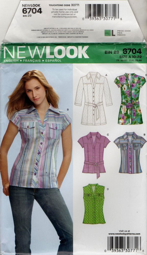 291412b1d7f New Look Sewing Pattern 6704 Size 10-22 Women's Shirt Top Blouse ...
