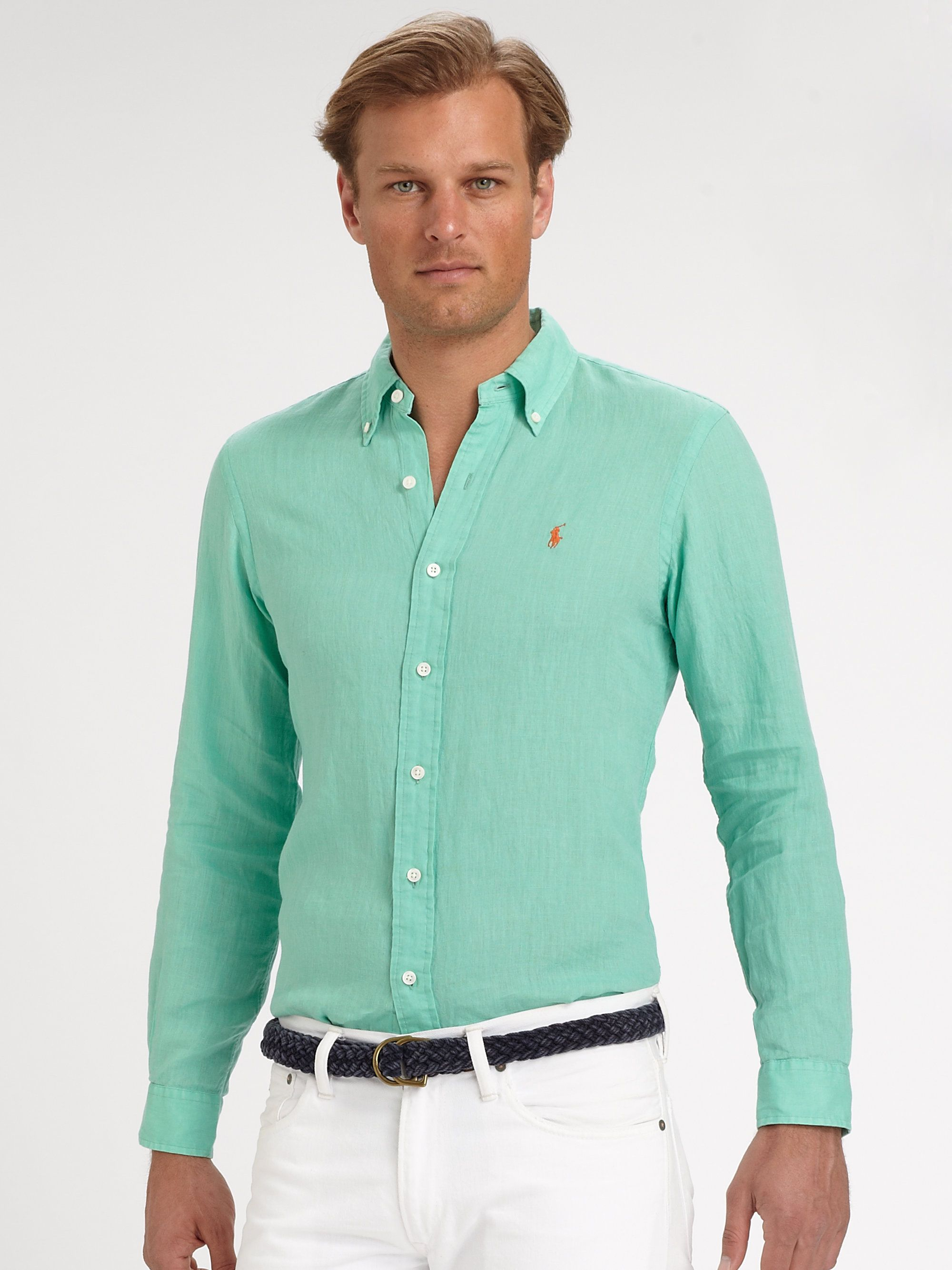 545da303ddc34 polo ralph lauren custom fit linen sport shirt in green for men lyst ...