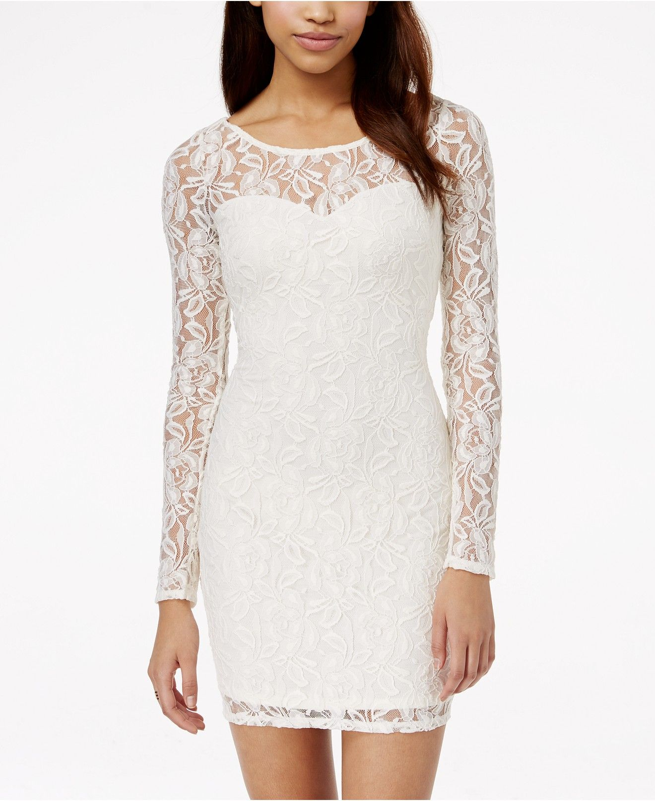 Material Girl Long Sleeve Lace Bodycon Dress Juniors