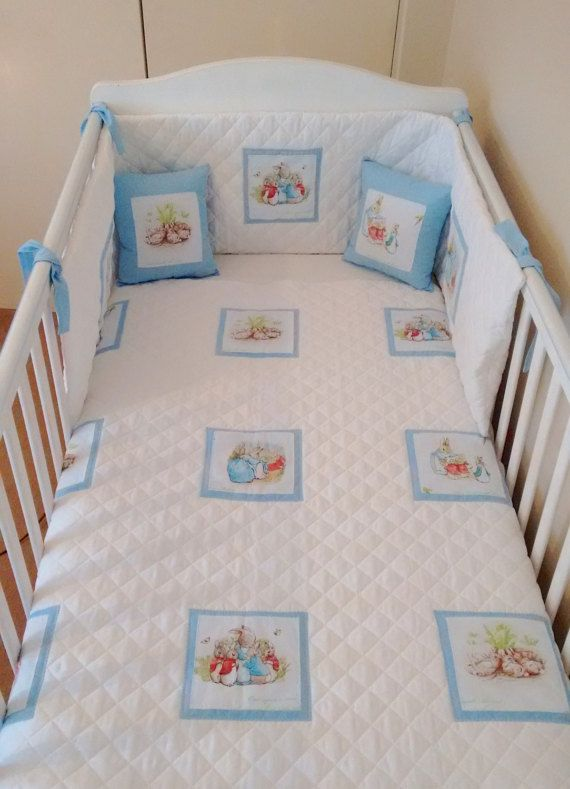 Beatrix Potter Boys Blue And White Quilted Bedding Peter Rabbit
