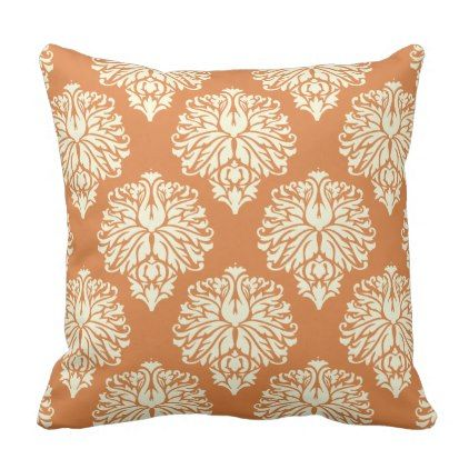 Orange Peel Southern Cottage Damask Throw Pillow - elegant gifts gift ideas custom presents