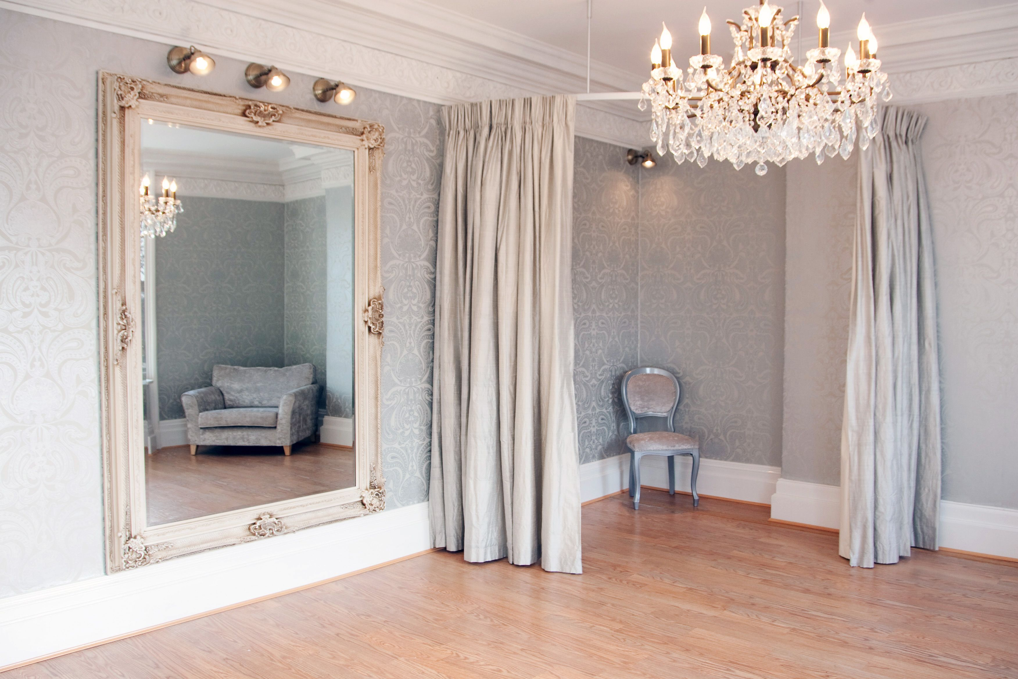 Gorgeous Bridal Boutique Interior! A stunning dressing room