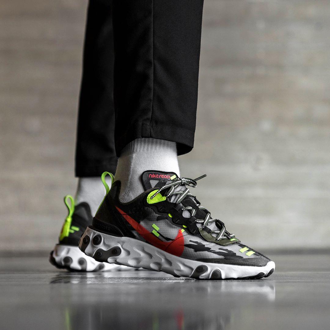 Nike React Element 87 Herrenschuh Schwarz Weiss Rot Sneakers Mode Nike Schuhe Manner Schwarz Weiss Rot