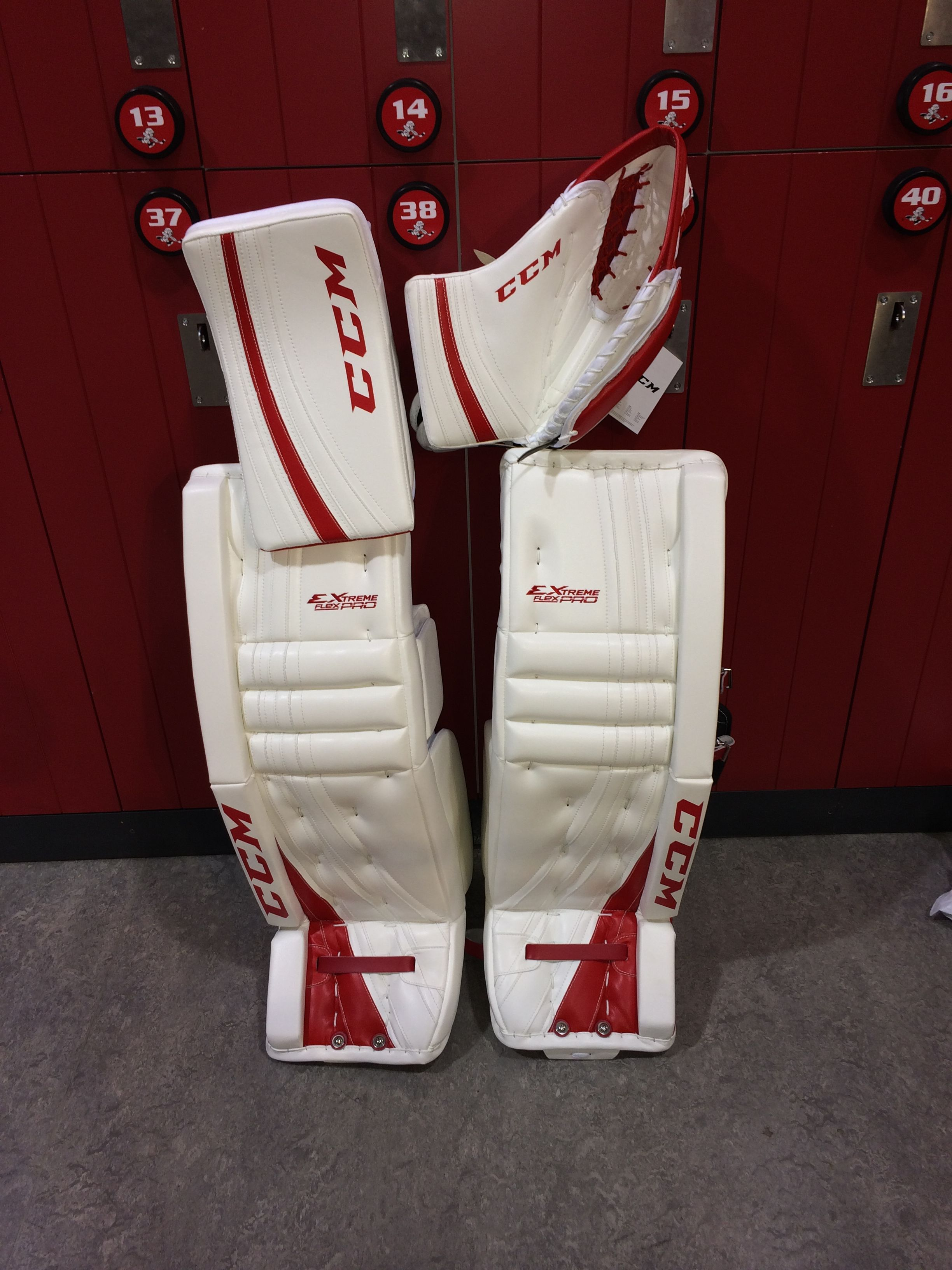 6aeeb5b6912 CCM Extreme Flex Pro custom goalie pads and gloves made for a customer.
