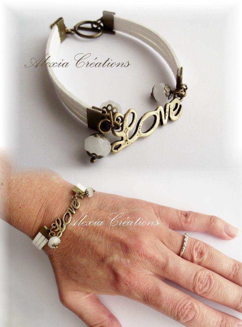 http://www.generationperles.fr/boutiquev4/creations-3/bijoux-24/bracelets_-3516/love_daim_artificiel_blanc_perles_en_verre_apprets_en_metal_couleur_bronze-6532.html     DIY : http://www.generationperles.fr/v4/idees_creatives-202.html