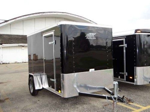 Enclosed Black 6 X 10 Atc Aluminum Trailer Company Cargo Trailer Rear Ramp Door A Side Door Stone Guard Roof Vent And 6 Inside Height Aluminum Trailer