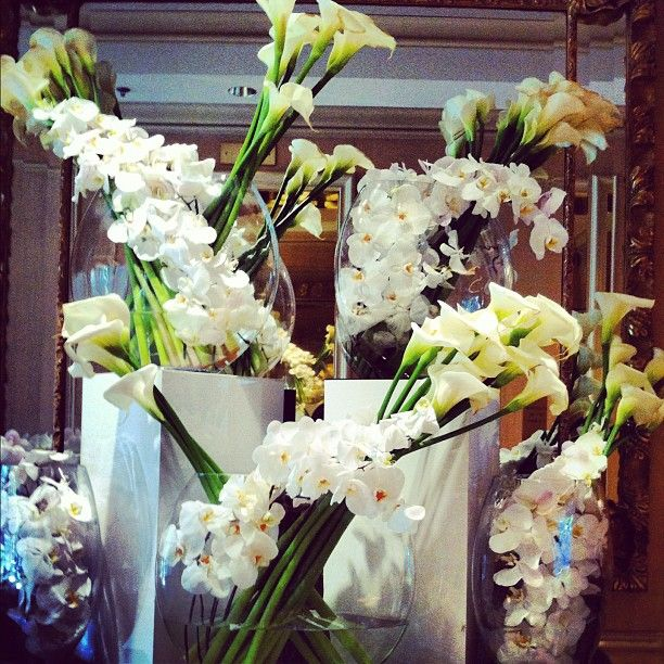 Elegant white orchids and pure white calla lilies adorn @Four Seasons Hotel Los Angeles at Beverly Hills