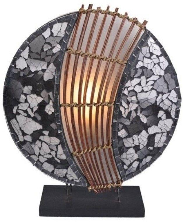 Leuchte Lampe Pia Rund Leuchte Lampe Pia Rund Metall Und Glas Mosaik Steine Hohe Ca 30 Cm Handmade In Bali Jedes Stu Tischleuchte Lampen Mosaiksteine