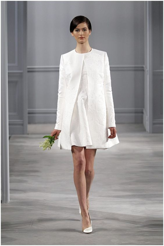 Mini Wedding Gown In White And A Matching Coat With Long Sleeves
