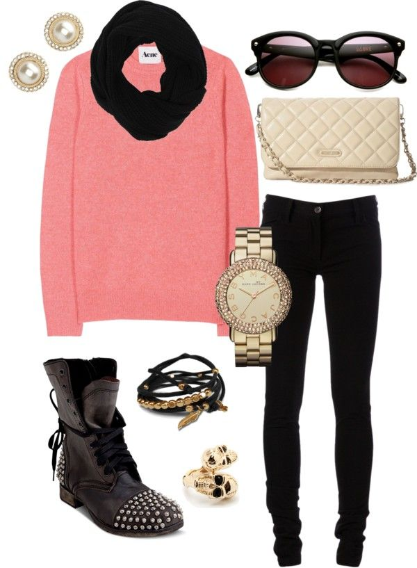 """""""pink, black and gold"""" by addiwood on Polyvore"""