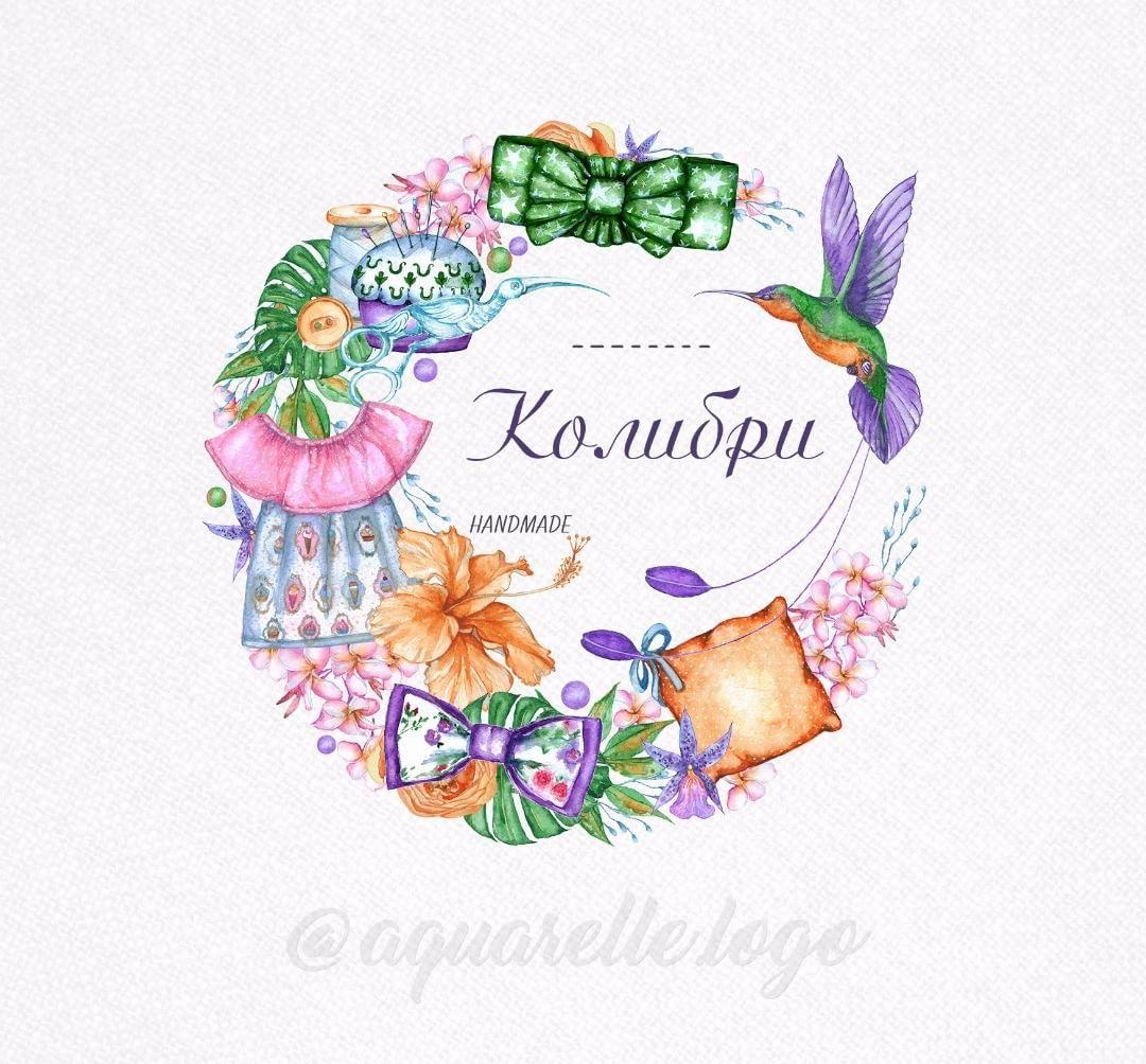 Логотип с яркой птичкой - колибри - для студии одежды и ...