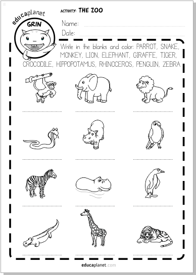 Ficha Animales Salvajes Vocabulario Ingles Y Espanol Gratis