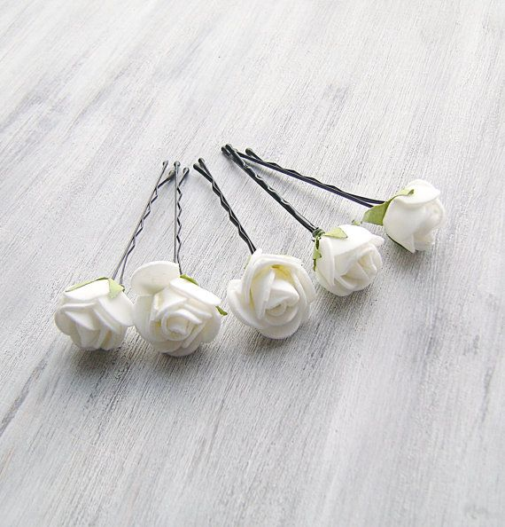 White Flowers Bobby Pins Roses Bridal Hair Woodland Clip Flower Clips Wedding Accessory Set Of 5