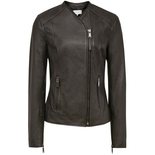 Reiss Rivington Leather Biker Jacket , Olive (€430) ❤ liked on Polyvore featuring outerwear, jackets, olive, olive green jacket, leather motorcycle jacket, green military jacket, olive green leather jacket and moto biker jacket