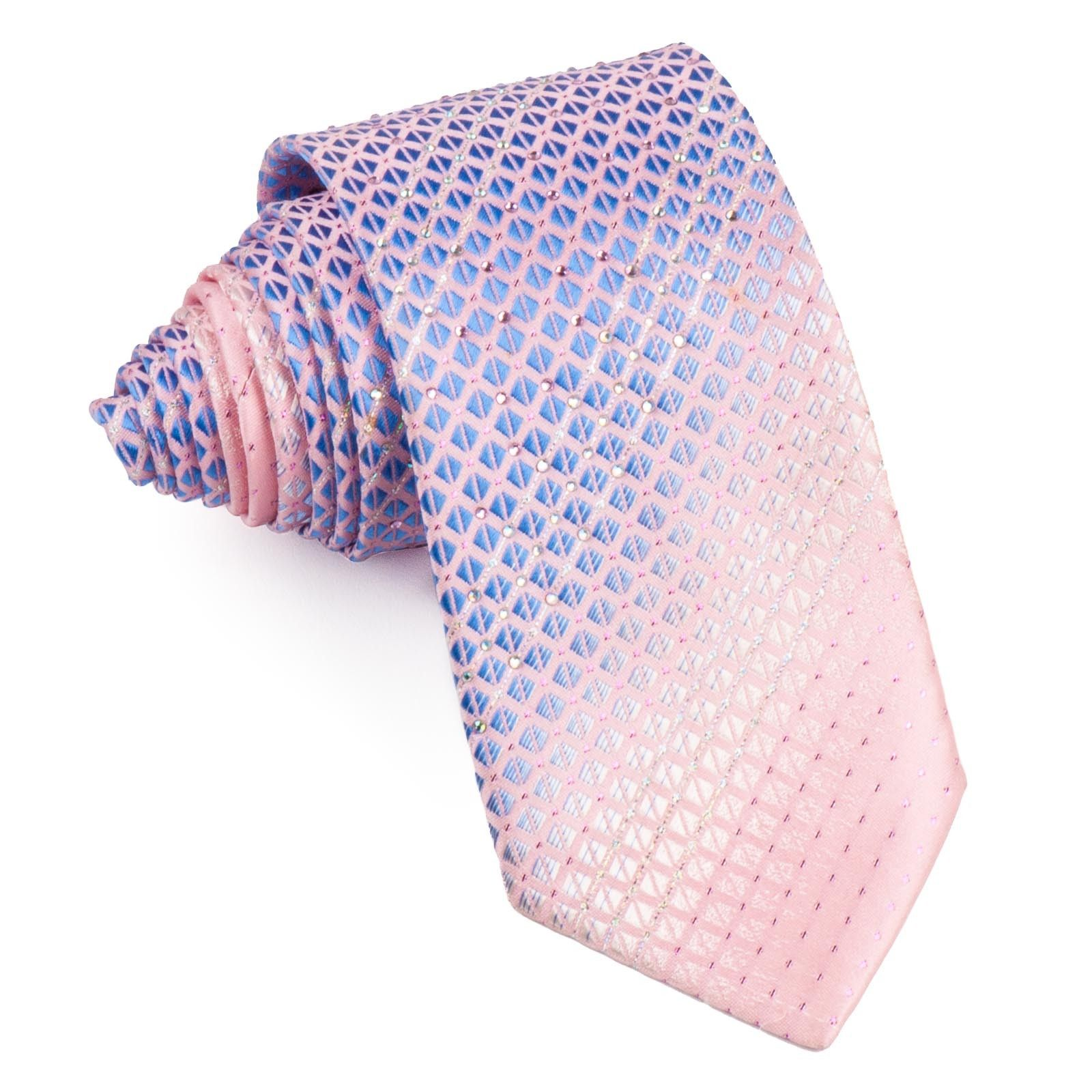 079a590ee077 Pierre Cardin Men's Silk Rhinestone Neck Tie Blue Checked On Pink With  Silver Sparkles