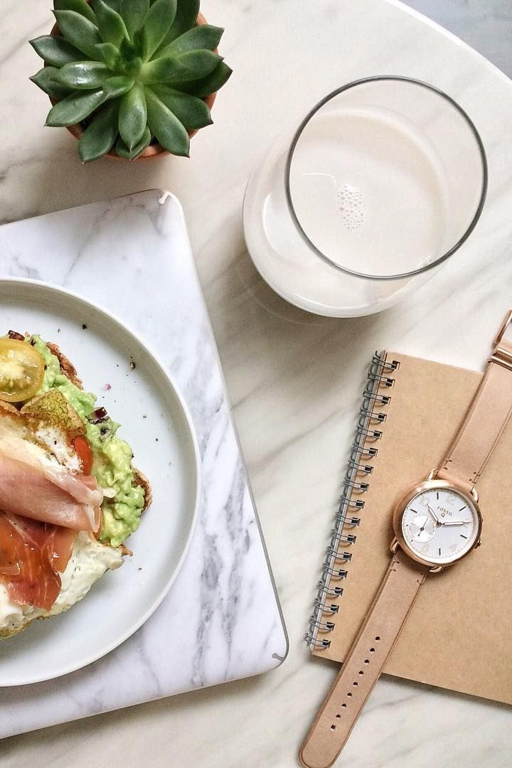 The weekend isn't complete without avocado toast and our Q Tailor hybrid smartwatch in hand. via @ thekataloguer
