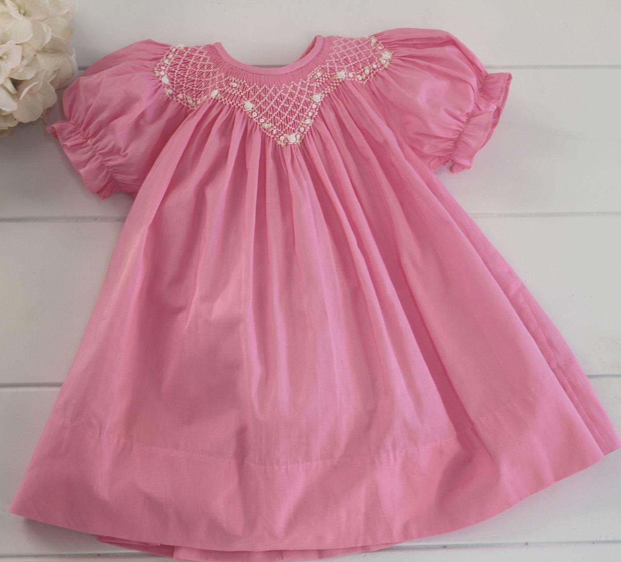 faeeb6abeb1d Hiccups Childrens Boutique - Girls Hot Pink Smocked Bishop Dress Rosalina,  $46.00 (https:
