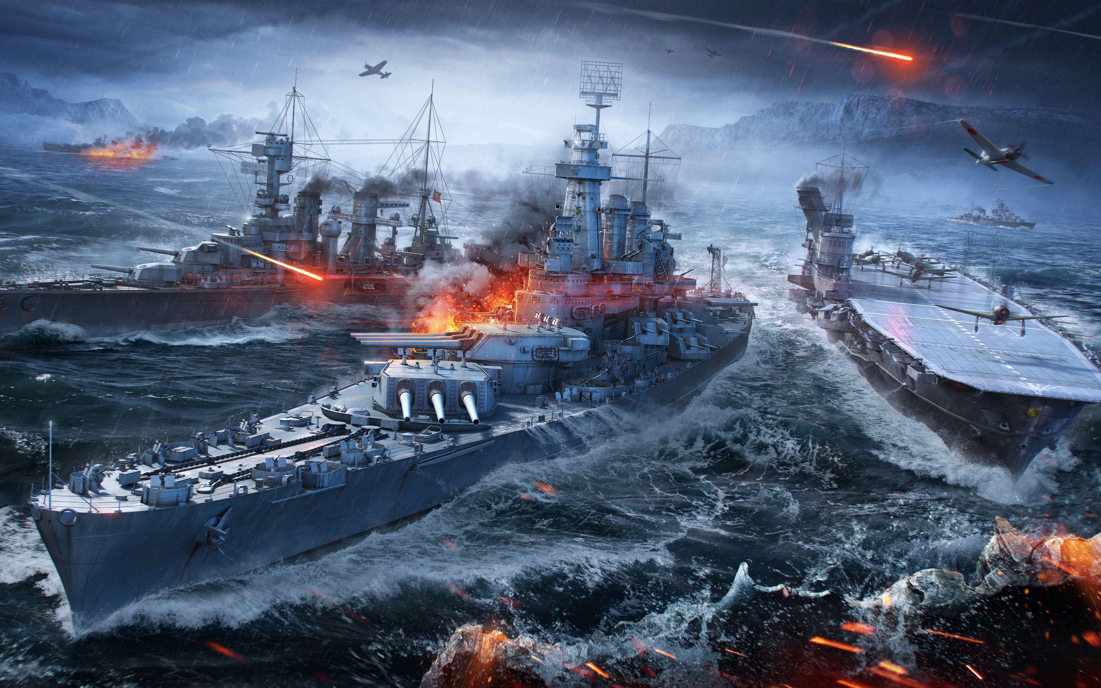 Download Wallpaper 3840x2400 World Of Warships Wargaming Net Ships Sea 4k Ultra Hd 16 10 Hd Background World Of Warships Wallpaper Warship Battleship