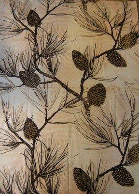 Hand Painted Vintage Barkcloth Pinecone