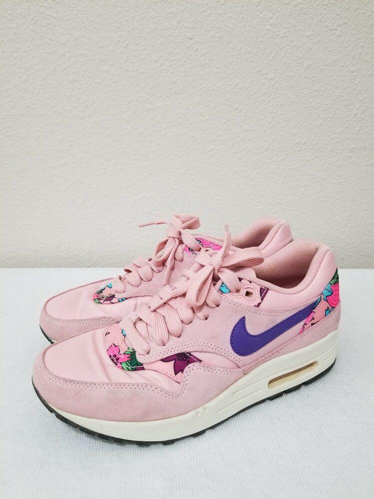 Women's Nike Air Max 1 Print Shoes Sz 7 Aloha Pink Glaze
