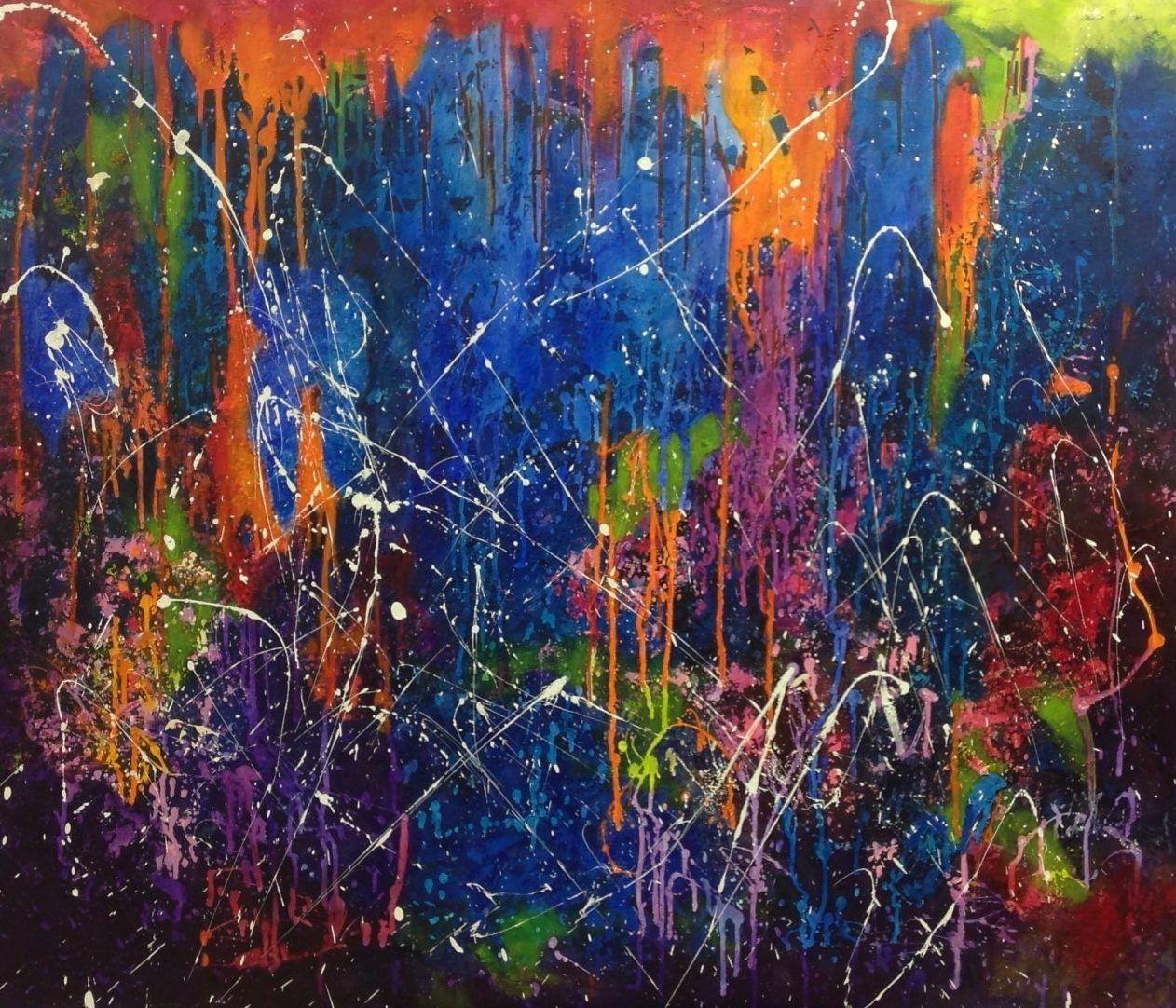 Explode, schilderij van Jolanda van  Hattum | Abstract | Modern | Kunst