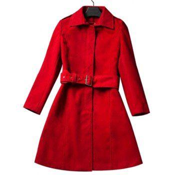 Elegant Shirt Collar Slimming Long Sleeve Red Coat For Women, RED, XL in Jackets & Coats   DressLily.com