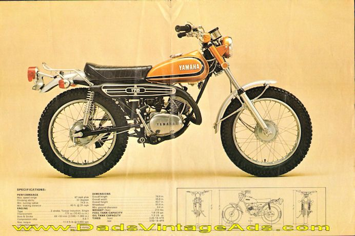 1973 Yamaha 175 CT3 Torque Induction Motorcycle Brochure – photos, specs