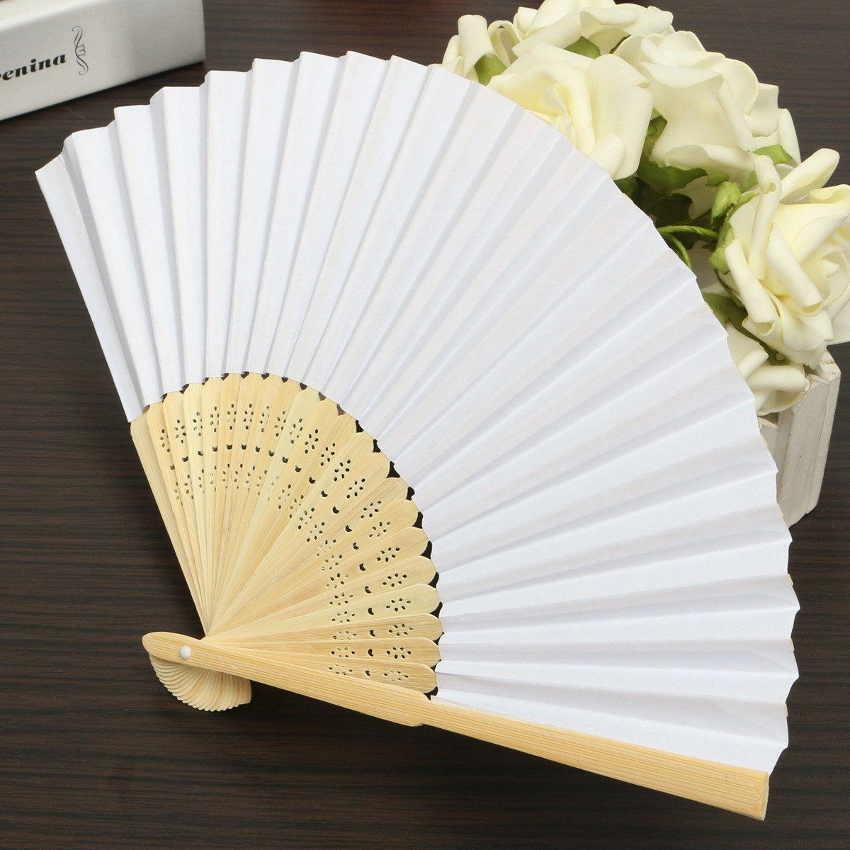 5pcs Simple Blank DIY Paper Hand Folding Fan Wedding Party Folding ...