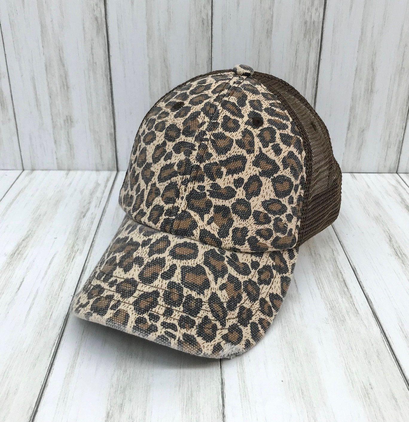 Custom distressed leopard print and brown mesh trucker hat