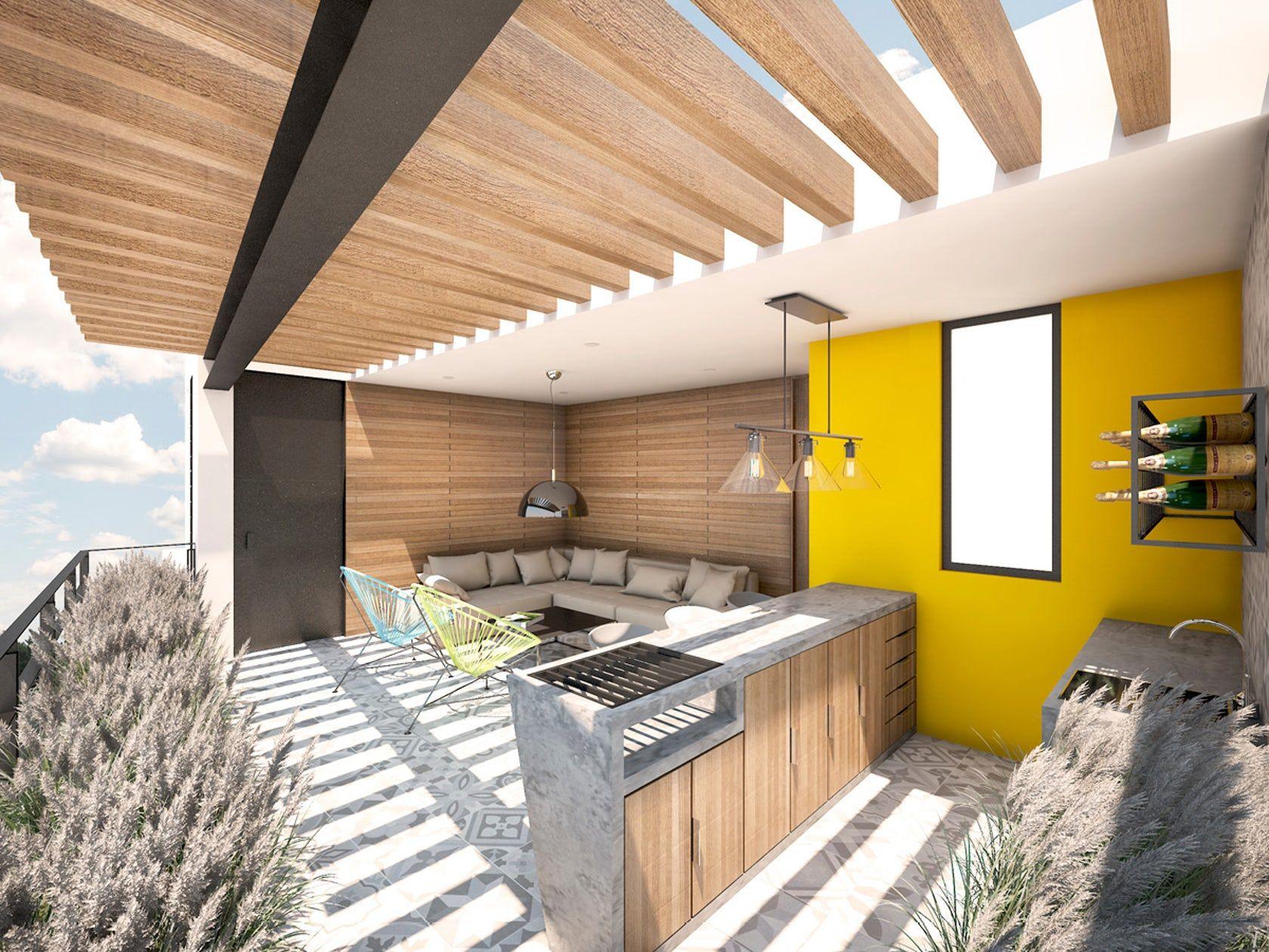Terraza Cocina Cubierta Vigas De Madera Arquitectura