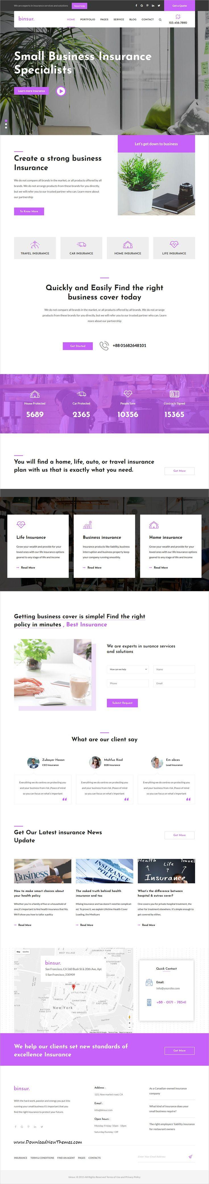 Binsure Insurance-Agency HTML Template | Insurance agency, Template ...