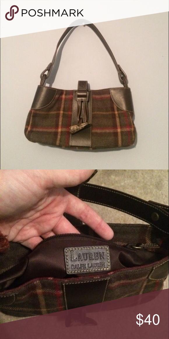 60a996c276 Lauren Ralph Lauren Purse Plaid Fabric Purse Bag Olive Green Leather  Wool Viscose. OBO Bags Mini Bags