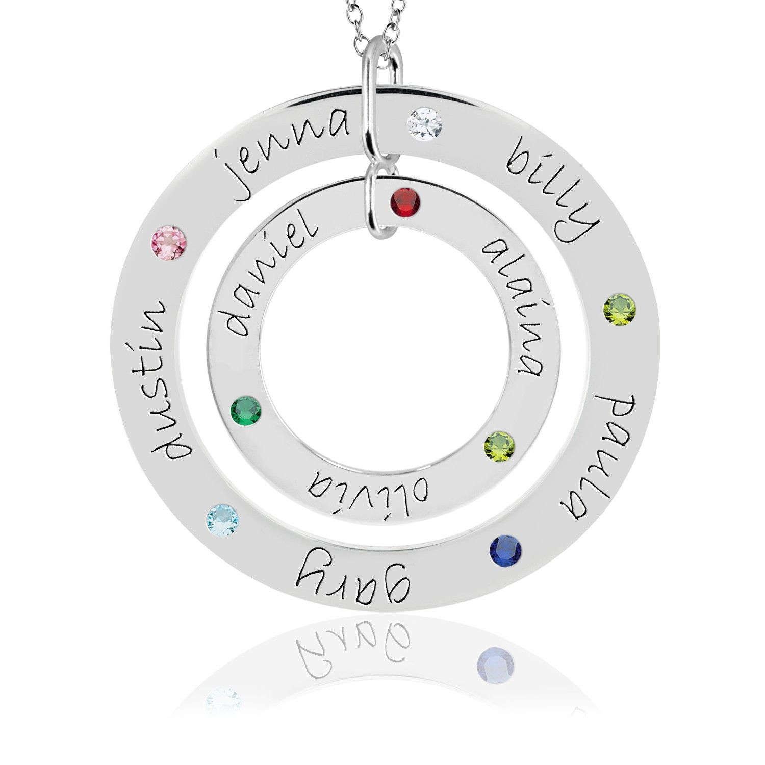 image over to heart silver larger drag grandkid necklace with birthstones roll sterling engraved birthstone zoom pendant