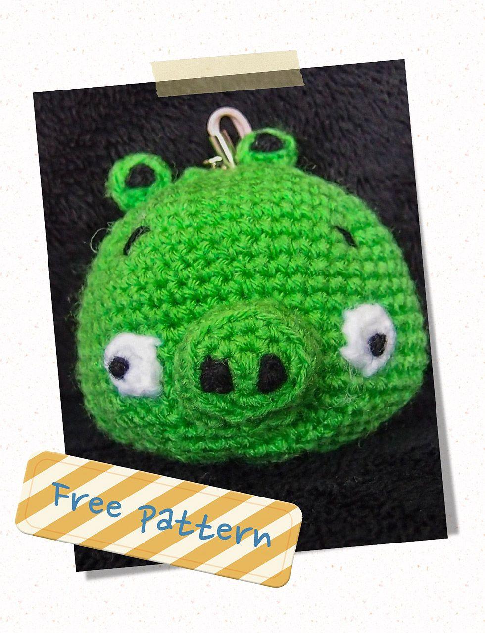 cerdo verde libre de pájaro enojado patrón de amigurumi crochet ...