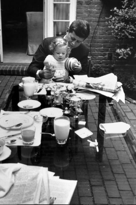 John F Kennedy Has Breakfast With His Daughter Caroline At