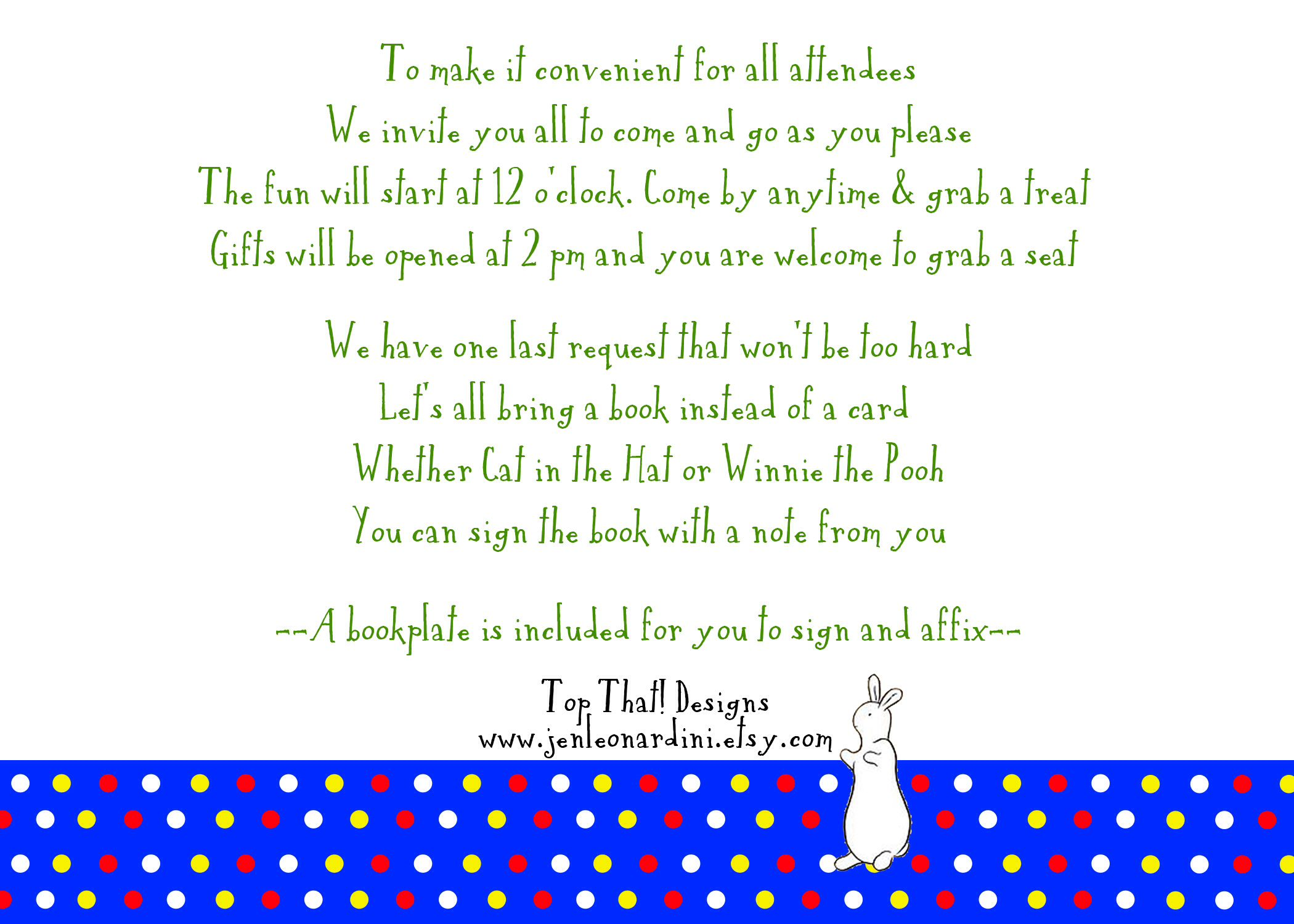 Baby shower invitation poem. Open house wording Back of invitation ...