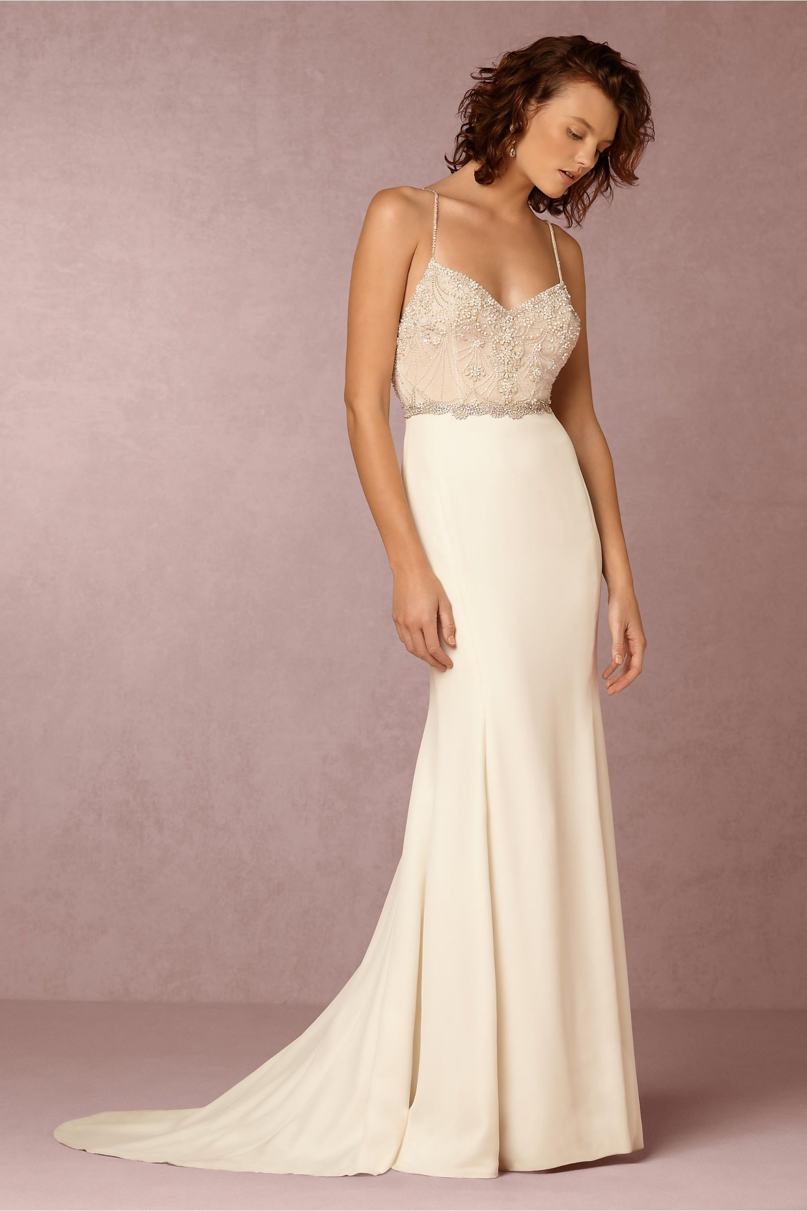 9c0bed16641f Clean modern wedding dress with subtle embellishment | Irene Wedding Gown  from BHLDN