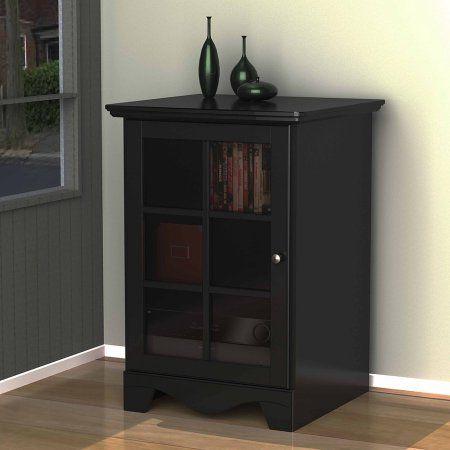 Nexera Pinnacle Black 1 Door Audio Tower Walmart Com Audio Cabinet Entertainment Furniture Tempered Glass Door