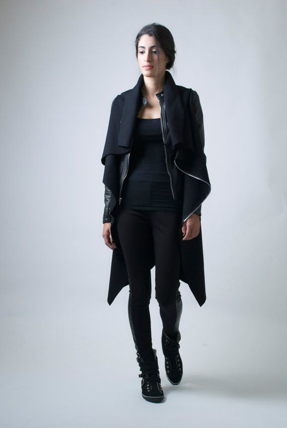 Black Jacket / High Collar Coat Asymmetrical Vest with Zipper ...
