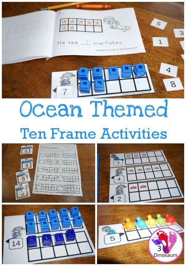 Ocean Themed Ten Frame Printables NoPrep  HandsOn   Pages