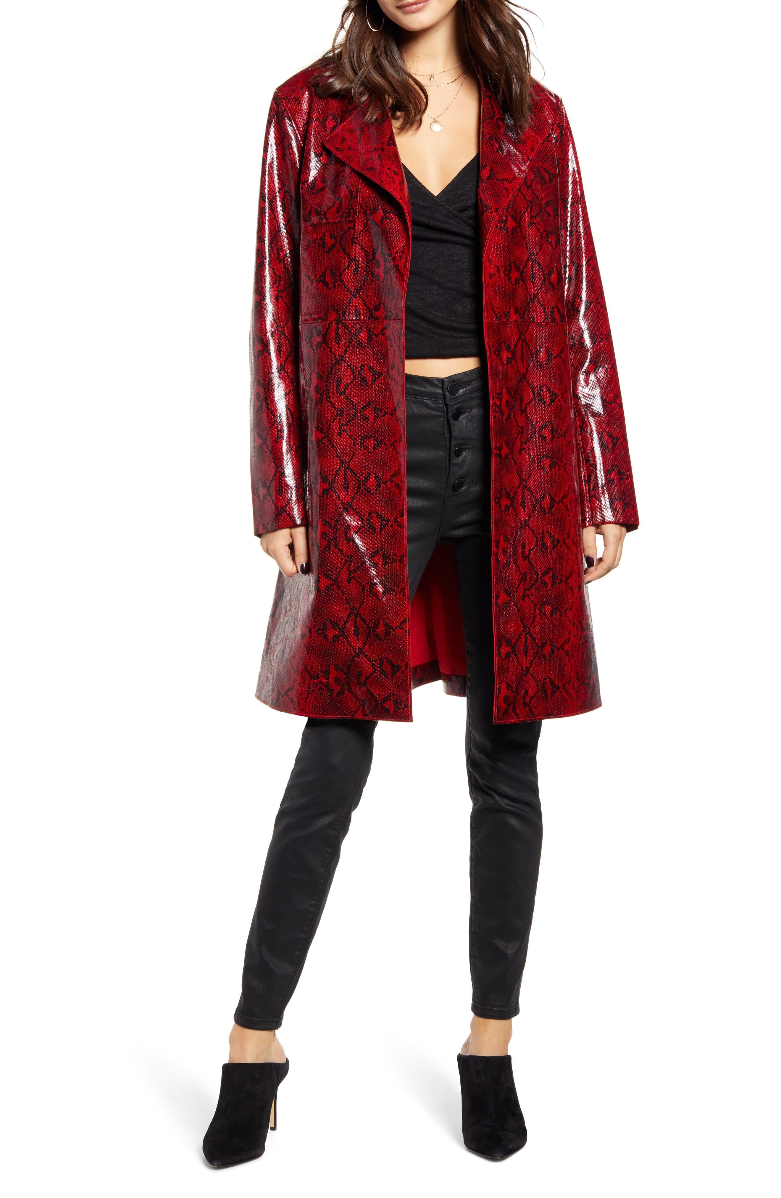 Women's Blanknyc Snakeskin Faux Leather Trench Coat, Size