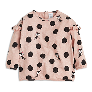 This fine top in dusty pink has a cute allover print with