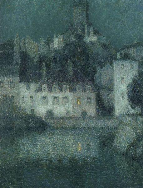 Henri Le Sidaner (French, 1862-1939) ~ Maisons blanches à Quimperlé (White houses at Quimperlé) ~ (1919) ~ Oil on canvas.
