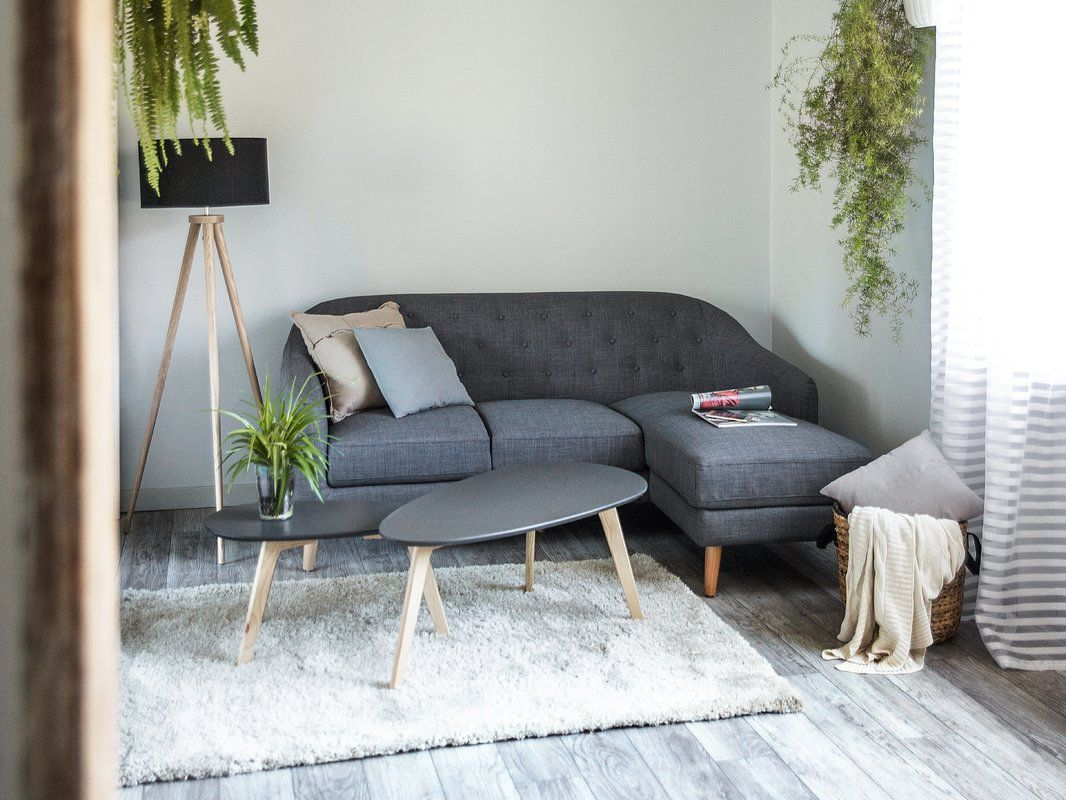 Mid Century Corner Sofa In Subtle Grey Shade Soft Touch Compact Size Perfect For Small Apartments M Small Corner Sofa Country Bedroom Furniture Corner Sofa
