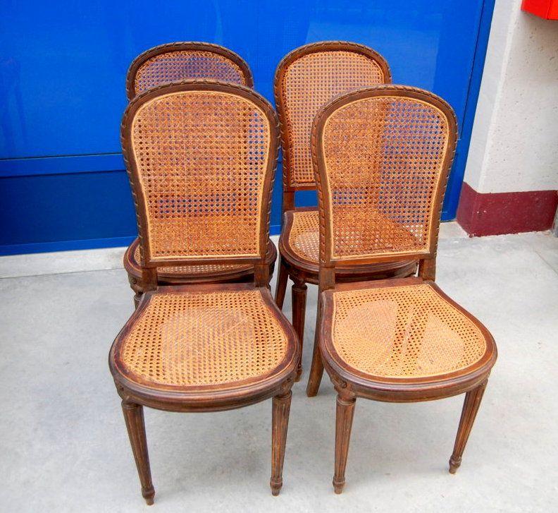 Sedie In Paglia Di Vienna.4 Sedie In Faggio E Paglia Di Vienna Stile Luigi Xvi Su