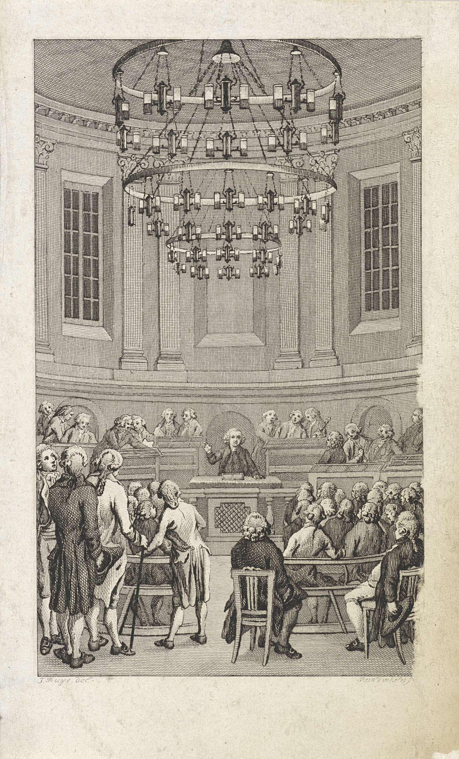 Reinier Vinkeles   Inwijding van Felix Meritis, 1789, Reinier Vinkeles, 1799   Inwijding van het gebouw van de maatschappij Felix Meritis te Amsterdam, 1789. Professor Andreas Bonn spreekt in de Concertzaal.
