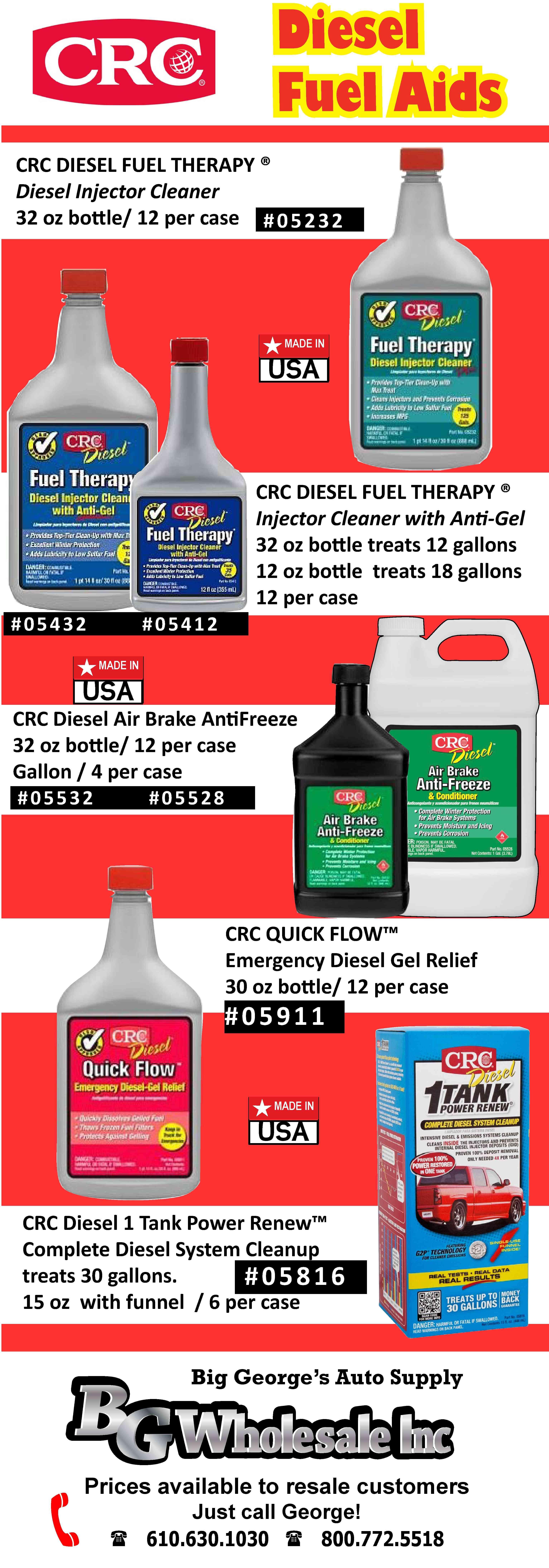 CRC Diesel Fuel Helpers Fuel Injector Cleaner, AntiGel