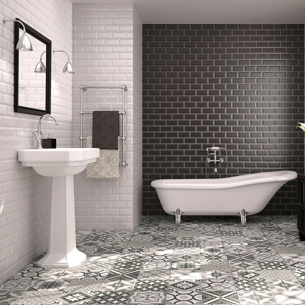 Black And White Metro Tiles With Mosaic Style Flooring (Galena