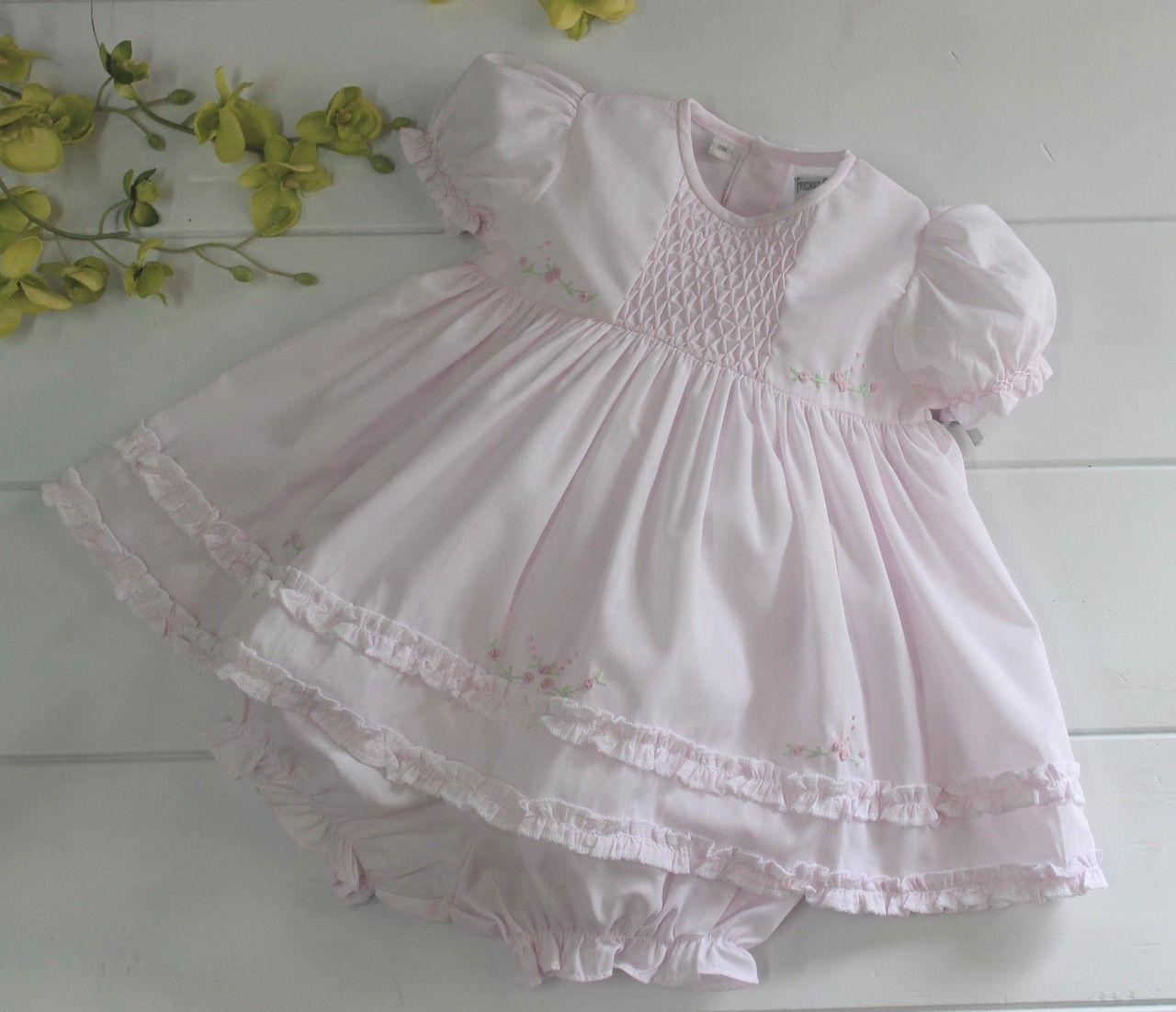 7c0de346e Baby Girls Pink Dress & Bloomer Set - Friedknit Creations by Feltman ...
